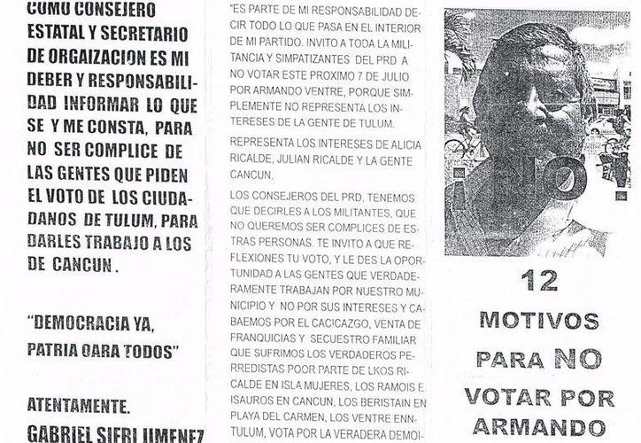 Uno de los documentos decomisado al detenido. (Redacción/SIPSE)