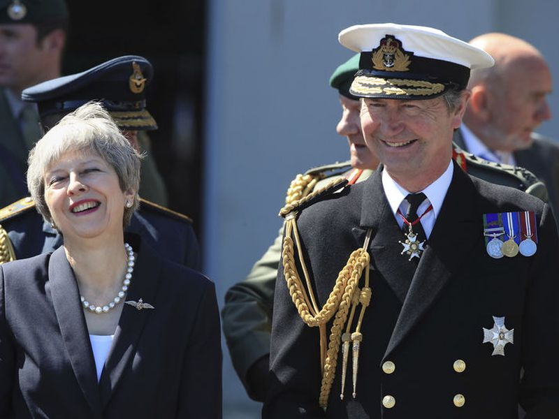 Prime Minister Theresa May during celebrations marking National Armed Forces Day in Llandudno, Wales.
