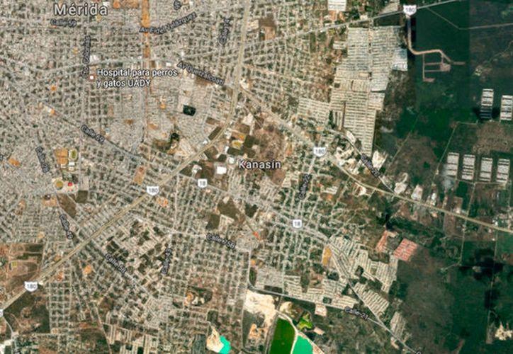 Vista área de Google Maps del municipio de Kanasín, donde una mujer se quitó la vida. En Umán, se dio en otro caso: el de una doctora que se ahorcó.