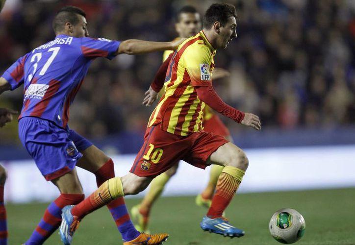 Contra el Levante, Messi dio tres pases para gol a Cristian Tello a los minutos 60, 81 y 86 en el partido de ida de cuartos de final en Copa del Rey. (Agencias)