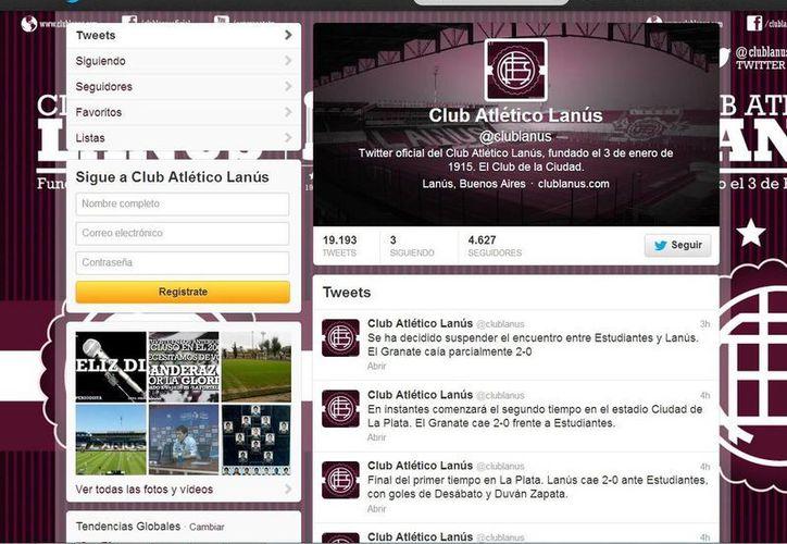 Mediante su cuenta de Twitter, el Club Atlético Lanús informó del deceso del aficionado y la suspensión del partido. (@clublanus)