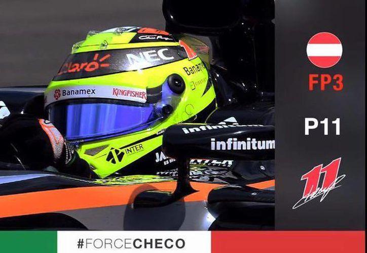 Checo Pérez alcanzó la octava posición y tenía en la mirada al francés Romain Grosjean, quien venía adelante con una penalización de cinco segundos por excedes el límite de velocidad en la zona de pits. (Facebook Checo Pérez)