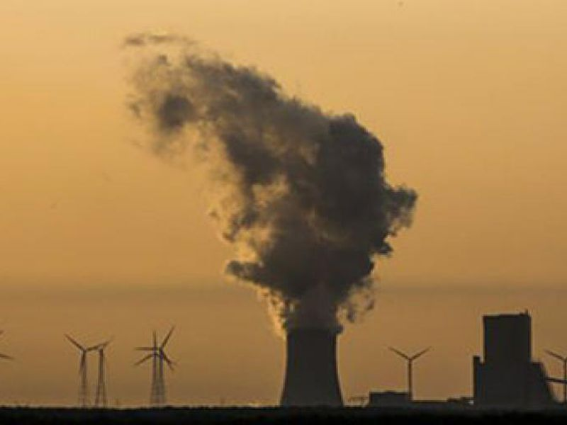 In this photo steam rises in the air from the brown coal power plant Schwarze Pumpe in the Lusatia, (Lausitz) area in Germany.