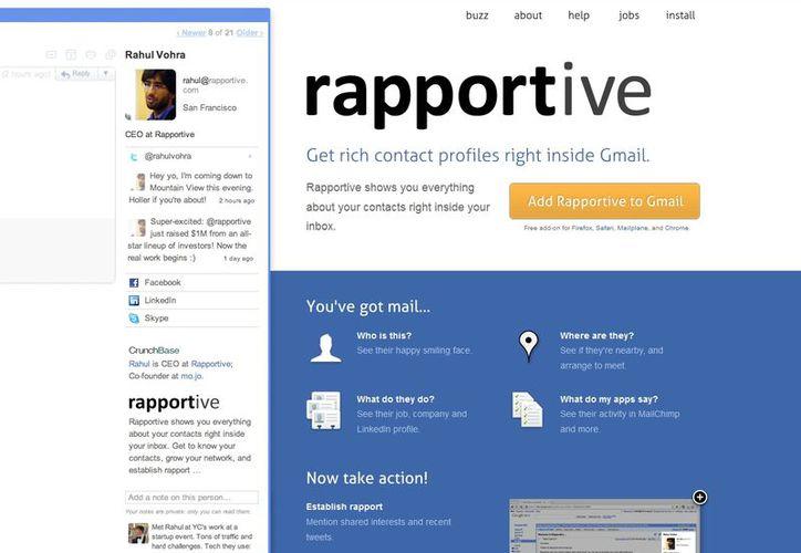 Rapportive es un plug-in para Chrome que sustituye la publicidad por información de tus contactos al ligarlos con sus datos en redes sociales. (rapportive.com/)