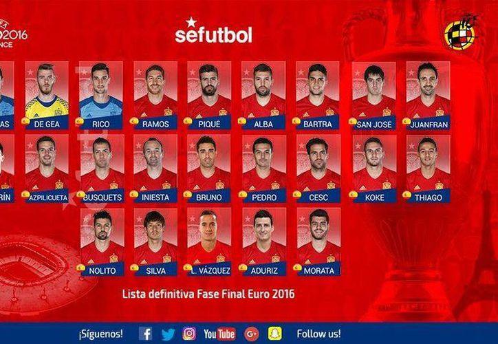 Estos son los 23 seleccionados de España que Vicente del Bosque convocó para la Euro Francia 2016. (Facebook)