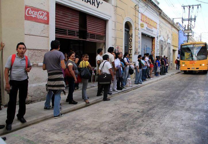 Largas filas de usuarios se forman en los paraderos del centro del transporte público de Mérida. (José Acosta/SIPSE)