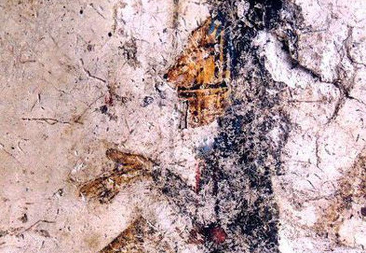 Esta es una de las pinturas de la zona arqueológica maya de Ek Balam, donde, según estudios, , entre 770 y 801 d.C hubo escribas altamente calificados, quienes también dibujaban. (INAH)