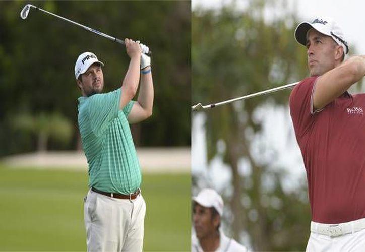 """El estadounidense Kent Bulle (i) y el brasileño Alex Rocha fueron los punteros, este jueves en el primer día de actividades del Mundo Mayan Open, que se realiza en el campo Yucatán Country Club """"El Jaguar"""". (SIPSE)"""