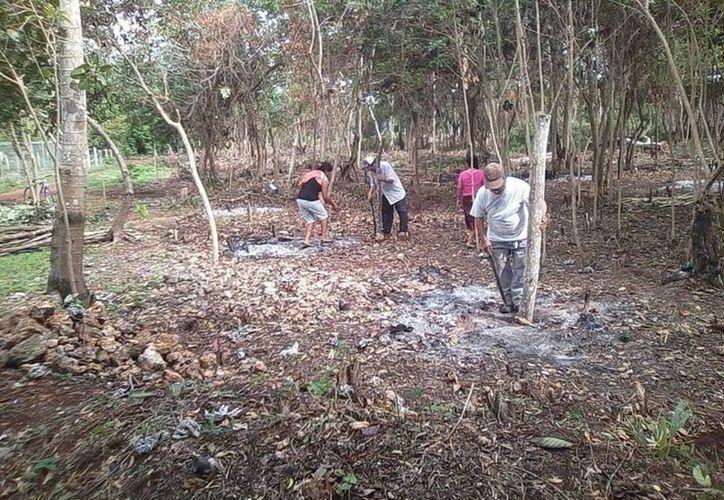 Con machete y rastrillos en mano, el grupo de personas se dedicaron a limpiar el extenso predio. (Javier Ortiz/SIPSE)