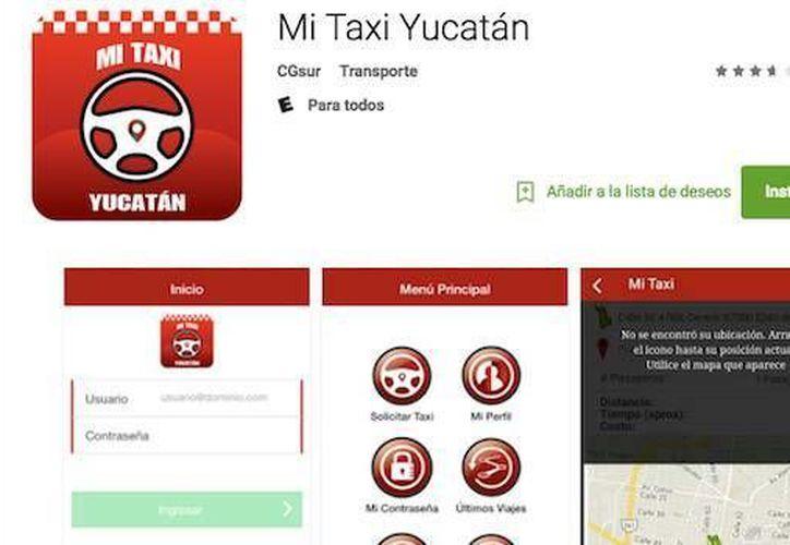 Captura de pantalla de la app Mi Taxi Yucatán que hasta hace unos días podía descargarse de Google Play. (SIPSE)