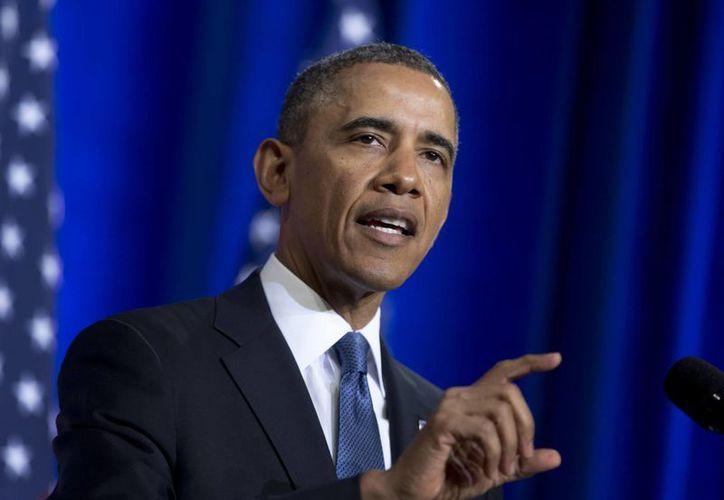 El presidente Barack Obama durante sus declaraciones sobre la Agencia de Seguridad Nacional (NSA) en el Departamento de Justicia en Washington. (Agencias)