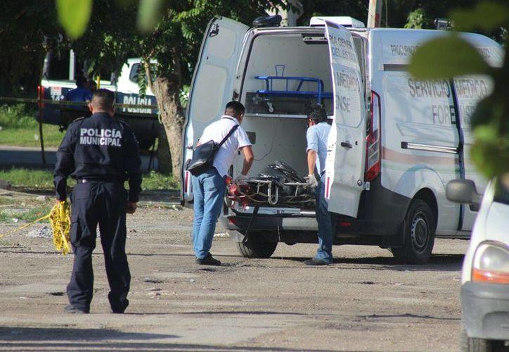 Personal del Semefo trasladó las bolsas que contenían las partes del cuerpo. (Eric Galindo/SIPSE)