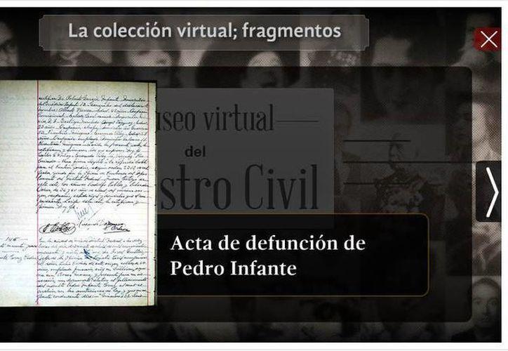 El acta de defunción de Pedro Infante se encuentra también a disposición. (Captura de pantalla)