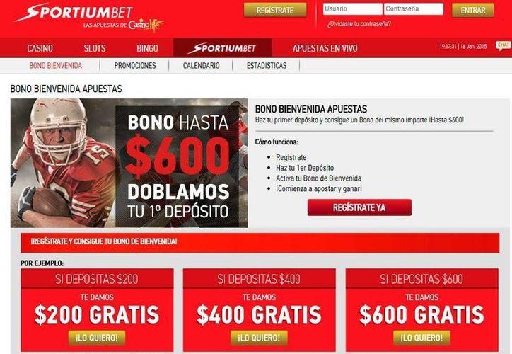 Captura de pantalla del sitio web de Casino Life, que ya promociona  la marca SportiunBet. (http://www.casinolife.com.mx/)