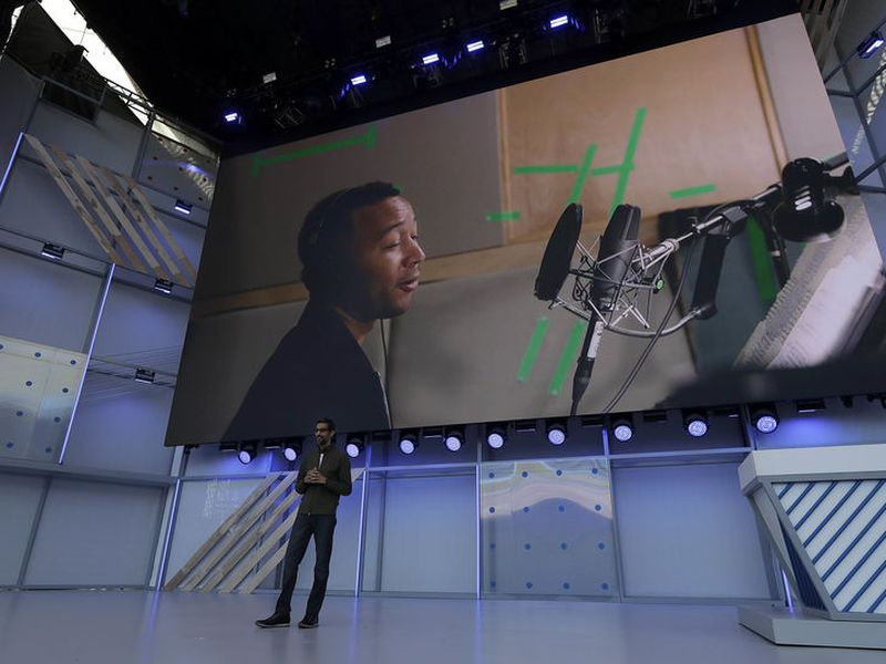 Google CEO Sundar Pichai speaks in Mountain View, Calif. (AP)