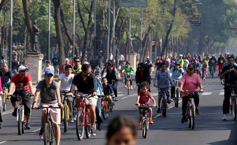 Aspecto del paseo en bicicleta en la avenida Reforma de la Ciudad de México. (Notimex)