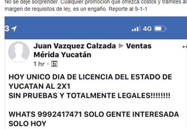Ayer en redes sociales apareció un anuncio en el que se ofertaban licencias de conducir al dos por uno, tratándose de un fraude. (Internet)
