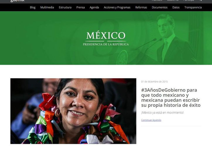 Captura de pantalla del sitio web de la Presidencia de la República, en la que  destaca avances de la administración de Enrique Peña Nieto a la mitad de su sexenio. (www.gob.mx)