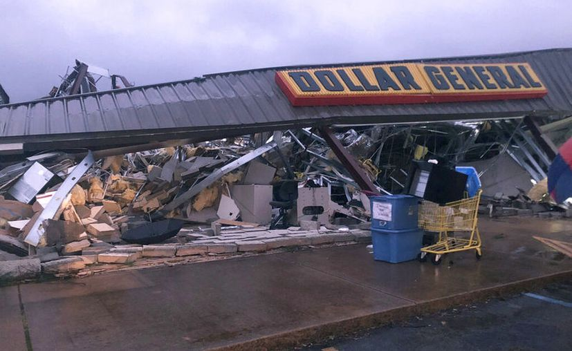 Daños causados por la tormenta en Tishomingo, Mississippi. (Kayla Thompson/WTVA via AP)