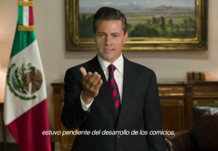 Peña Nieto hizo un llamado a rechazar la violencia y aseguró que la democracia en México sigue avanzando. (Captura de pantalla/YouTube)