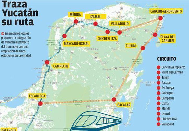 Afirman que están a la espera de que las próximas autoridades federales definan si el proyecto ferroviario será turístico o mixto. En imagen, la posible ruta. (SIPSE)