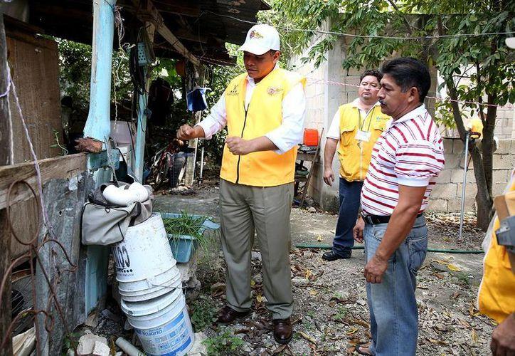 Personalmente, el Gobernador aplicó abate en recipientes con agua acumulada. (Milenio Novedades)