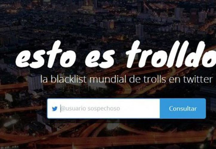 Captura de pantalla de la página web que permite reportar a usuarios provocadores. (trolldor.com)