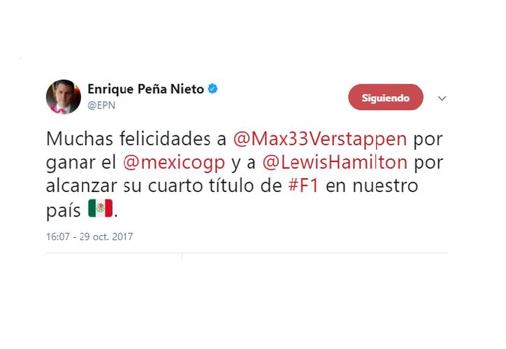 El Presidente de México felicitó en sus redes sociales a los ganadores de la Fórmula 1 y El Gran Premio de México. (Foto: Captura de pantalla)