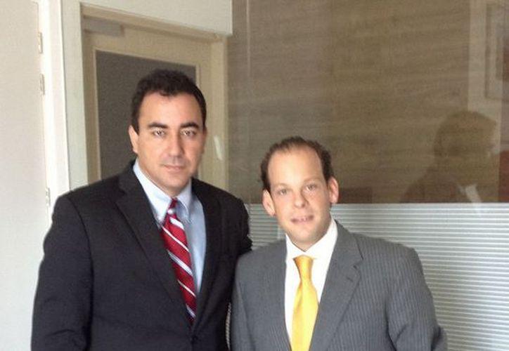 José Alberto Alonso Ovando, director de la CAPA con David Korenfeld, coordinador de agua potable del equipo de transición. (Cortesía/SIPSE)