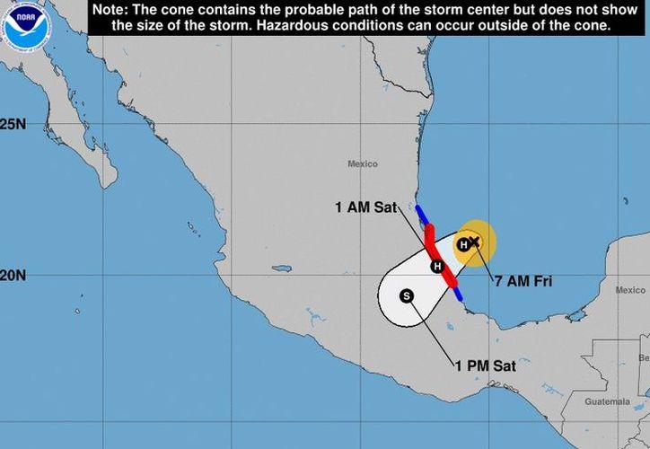Katia se encuentra a unos 270 kilómetros al este-sureste de Tampico y 220 kilómetros al nornoroeste de Veracruz. (Foto: NOAA)