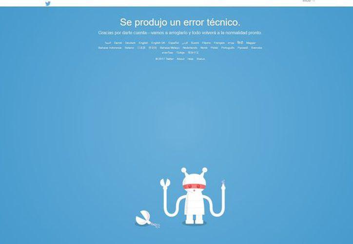 Una imagen de un robot descompuesto aparece en la pantalla con la siguiente leyenda. (Twitter)