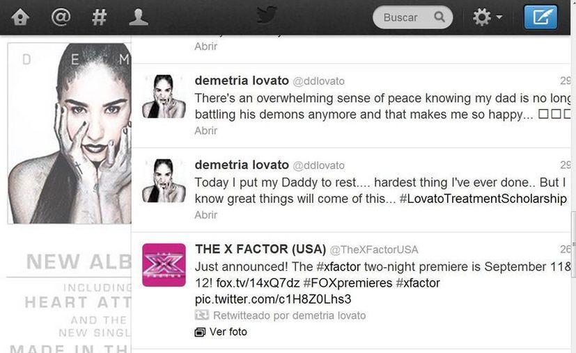 Mediante su cuenta de Twitter, Demi Lovato mantiene comunicación con sus seguidores. (@ddlovato)