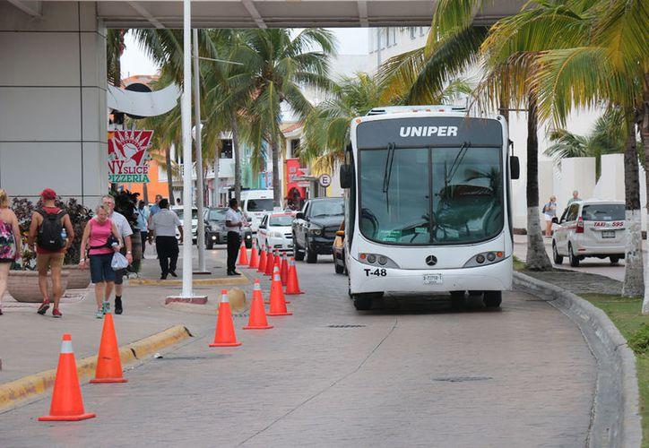 Por órdenes de la alcaldesa Autocars no podrán circular en el malecón. (Gustavo Villegas/SIPSE)