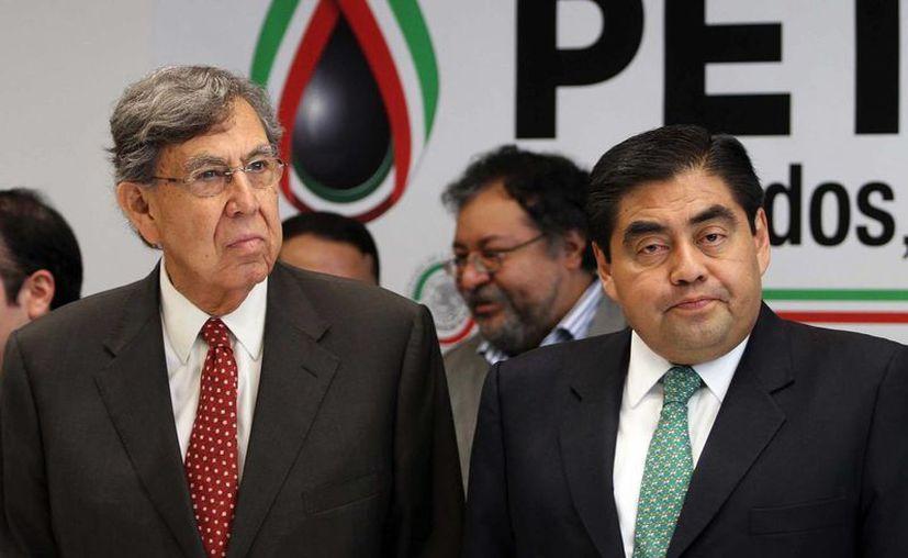 Cuauhtémoc Cárdenas y Miguel Barbosa. (Notimex)