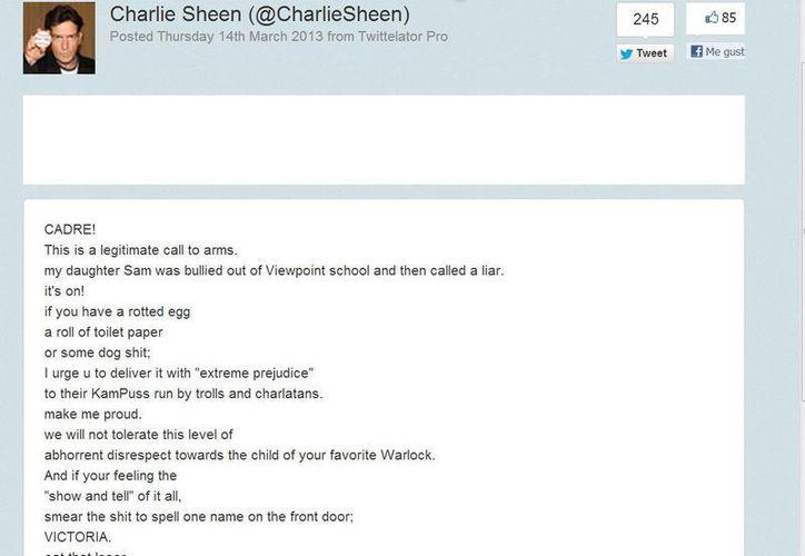 El mesnaje original de Sheen 'llamando a las armas'. (@CharlieSheen)