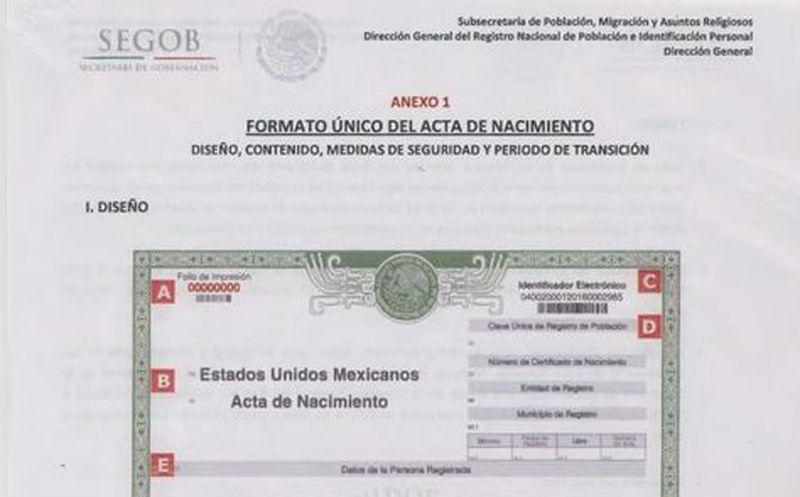Difunden nuevo formato del acta de nacimiento | Noticias de México y ...