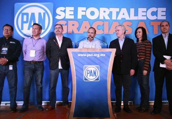El presidente nacional del PAN, Gustavo Madero, ofreció un mensaje en el CEN del PAN sobre la ventaja de su partido en varios estados. (Notimex)