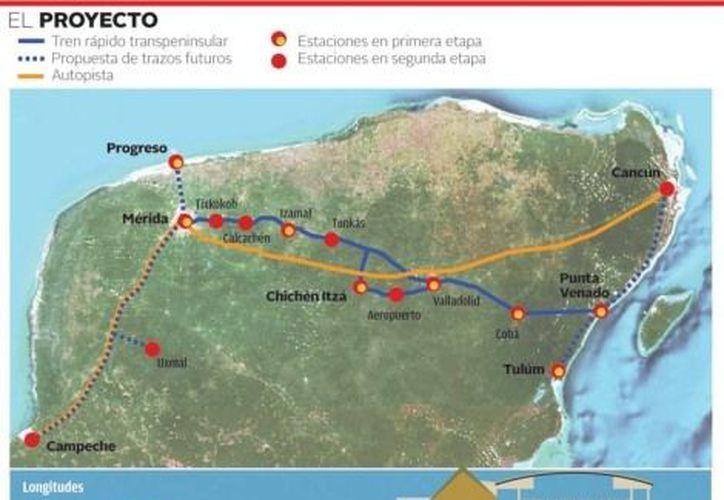 Empresas extranjeras y nacionales se interesan por el sistema de transporte que comunicará a Campeche, Yucatán y Quintana Roo. (Milenio)