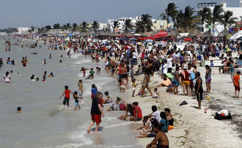 Desde temprana hora las playas de Progreso lucieron gran actividad de bañistas. (SIPSE)
