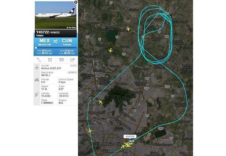 Reporte de la maniobra que realizó en el AICM, el avión Airbus A321 con destino a Cancún, Quintana Roo, tras detectar falla mecánica. (Excelsior)