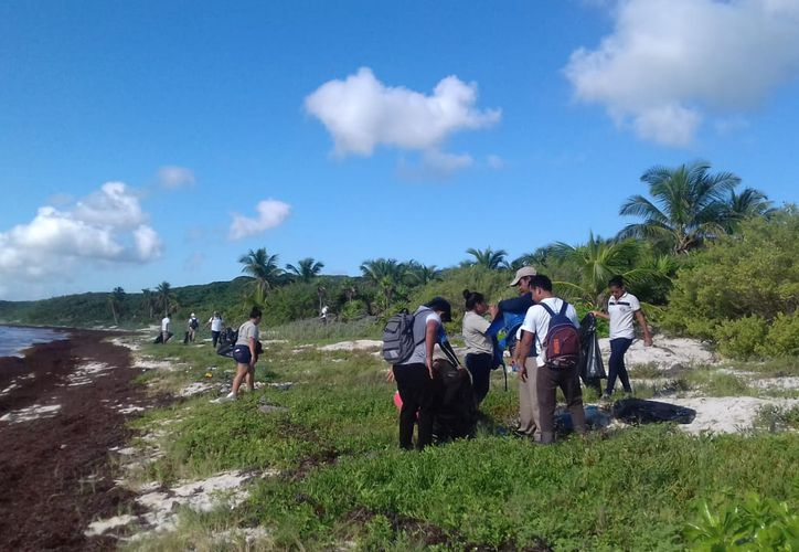 Las actividades tratan de reducir la basura que recala en la playa. (Sara Cauich/SIPSE)
