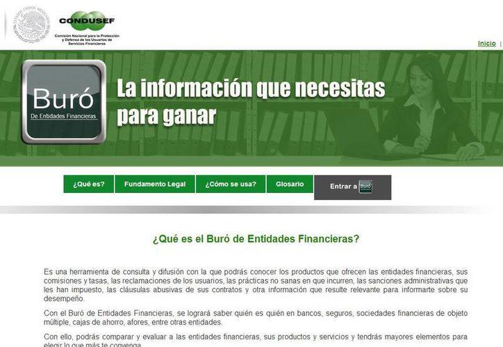 El usuario podrá consultar en la página información y comentarios de cada uno de los productos que ofrecen los bancos. (www.buro.gob.mx)