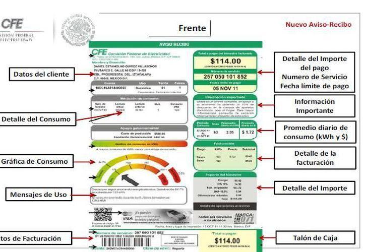 Los nuevos talones de pago se distribuyen desde marzo en Mérida y Ticul, en Yucatán. (CFE)