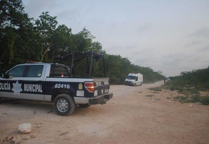 Un cuerpo sin vida dentro de una bolsa negra fue hallado ayer en un camino de terracería de la carretera a Nuevo Xcan. (Redacción/SIPSE)