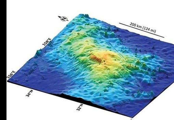 El Tamu Massif cubre un área de unos 310,700 kilómetros cuadrados (IODP/Texas A&M University).