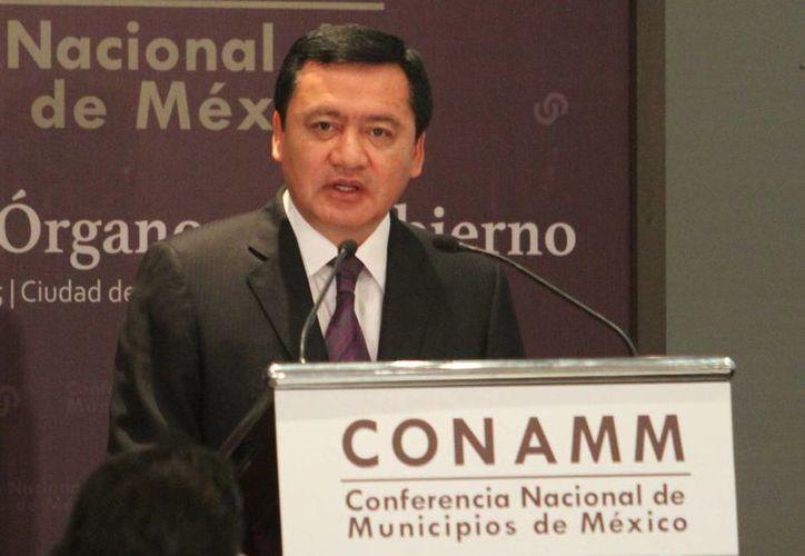 Imagen del Secretario de Gobernación, Miguel Ángel Osorio Chong, quien encabezó la clausura de la Reunión Plenaria de Órganos de Gobierno de la Conferencia Nacional de Municipios de México. (Notimex)