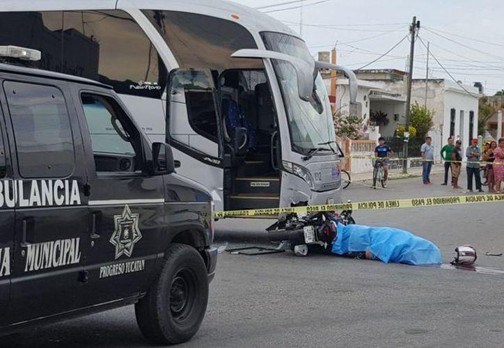 El motociclista cayó al suelo aún sobre su unidad y perdió la vida casi de manera inmediata. (SIPSE)