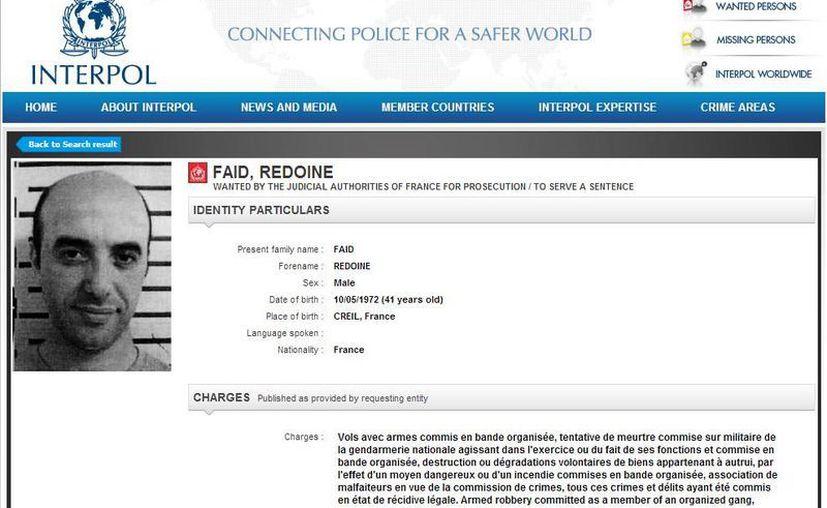 Faid pasó varios años en prisiones de máxima seguridad en Francia. (interpol.int)