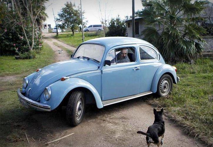 """Al mandatario uruguayo José Mujica se le suele ver manejando su ya célebre """"Escarabajo"""" de color celeste por las calles de Uruguay. (noticias.espanol.autocosmos.com)"""