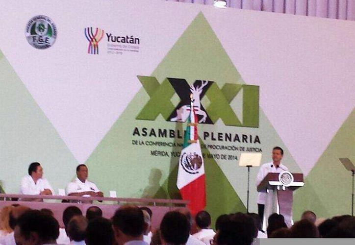 Imagen de la inauguración de la Conferencia Nacional de Procuración de Justicia, a cargo de Enrique Peña Nieto. (@fgeyucatan)